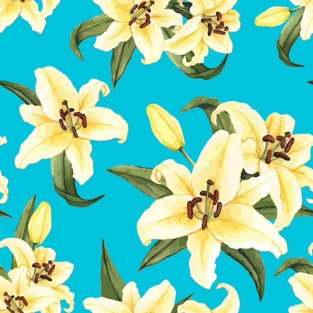 手描きの白いユリの花が孤立した 無料ベクター