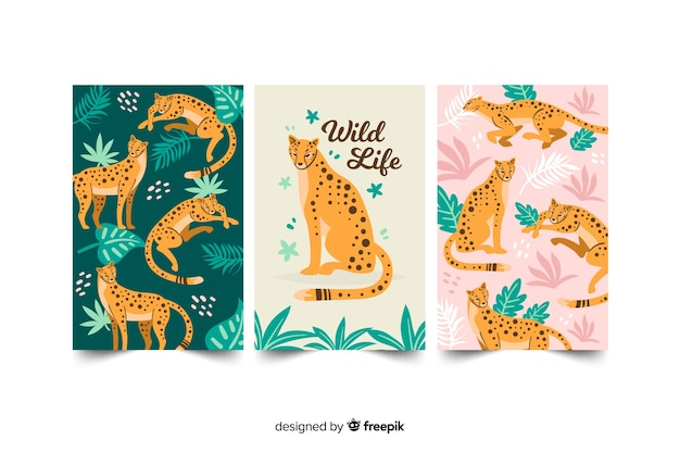 Hand drawn wild animal card collection Free Vector