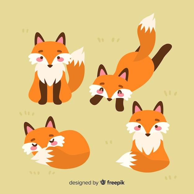 Collezione di volpe selvatica disegnata a mano Vettore gratuito