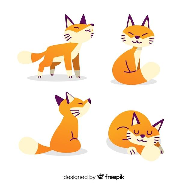 Коллекция рисованной дикой лисы Бесплатные векторы