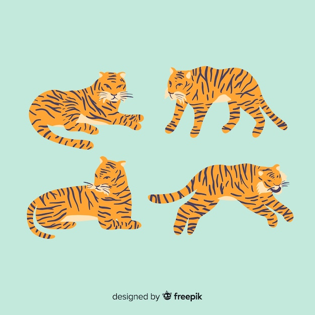 Hand drawn wild tiger collection Free Vector
