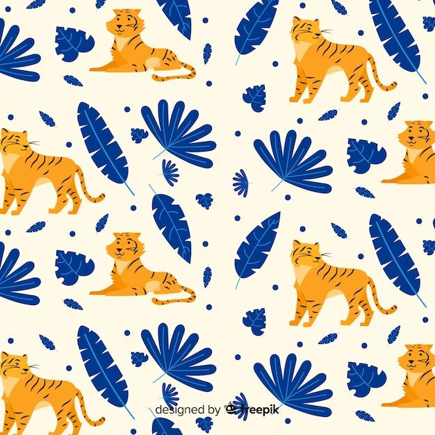 Hand drawn wild tiger pattern Free Vector