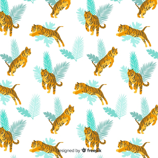 Hand drawn wild tiger pattern Free Vector