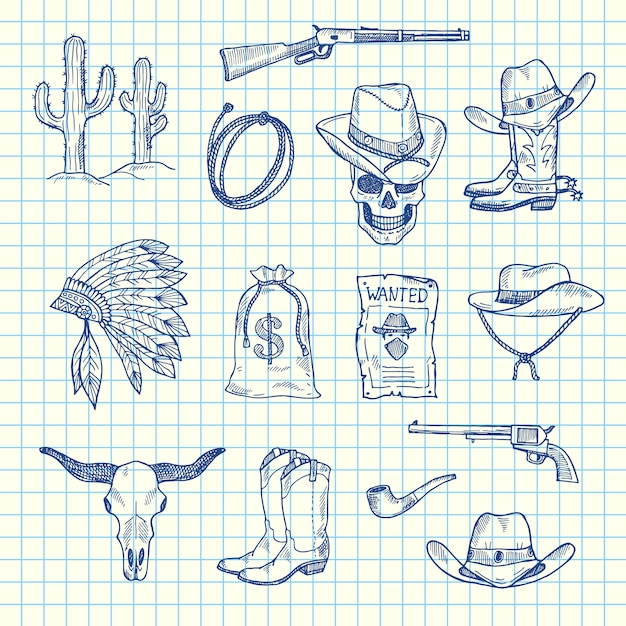 手描きの野生の西のカウボーイセット Premiumベクター