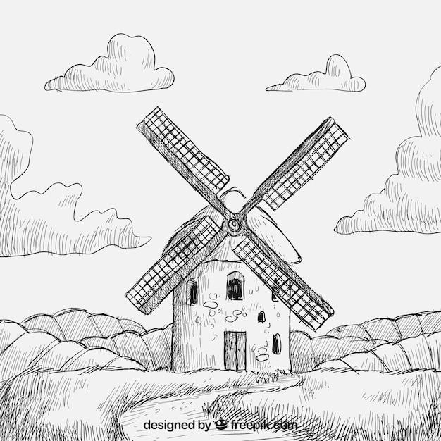 Hand drawn windmill Free Vector