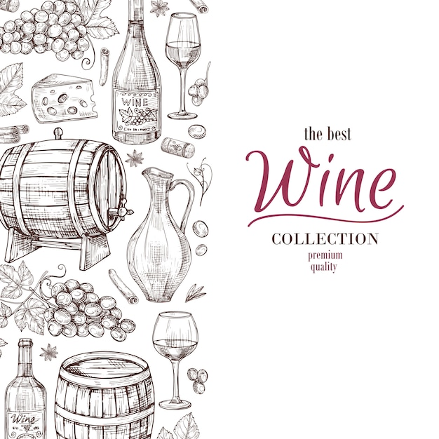 Hand drawn wine background Premium Vector