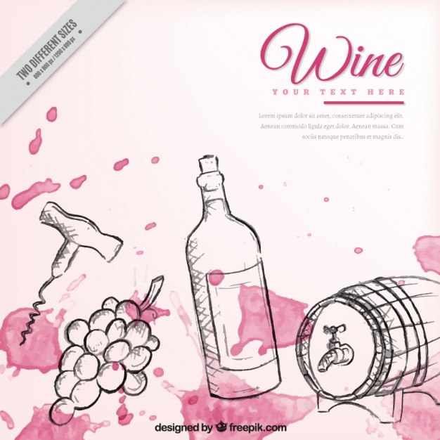 Hand drawn wine elements background with watercolor stains Free Vector