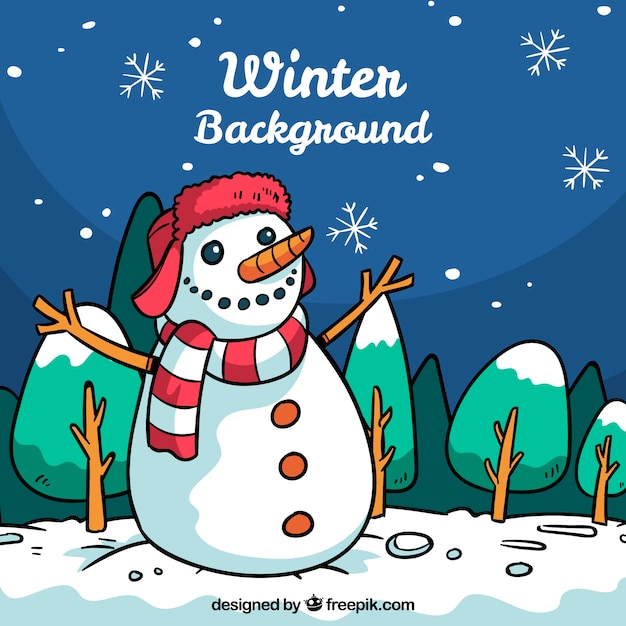 Hand drawn winter background with a snowman