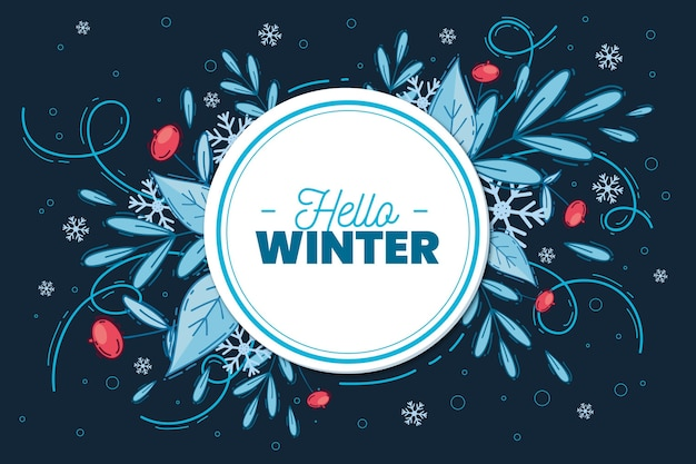 Hand drawn winter background with floral ornaments Free Vector