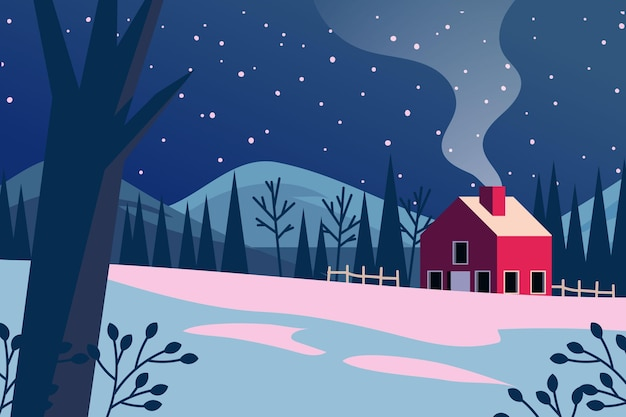 Hand drawn winter background with house Free Vector