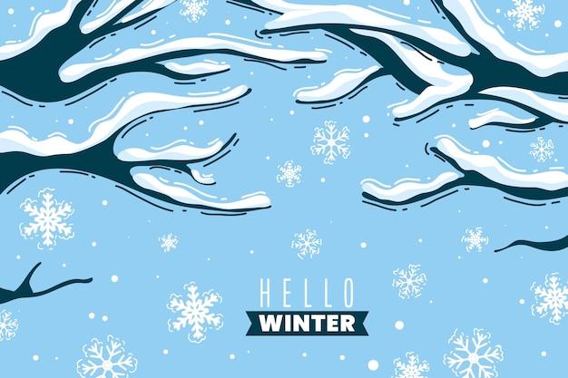 木と手描きの冬の背景 無料ベクター