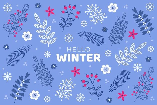 手描きの冬の背景 無料ベクター