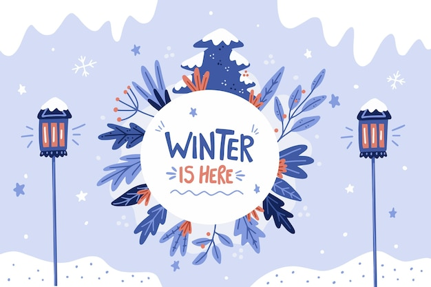 Hand drawn winter background Free Vector