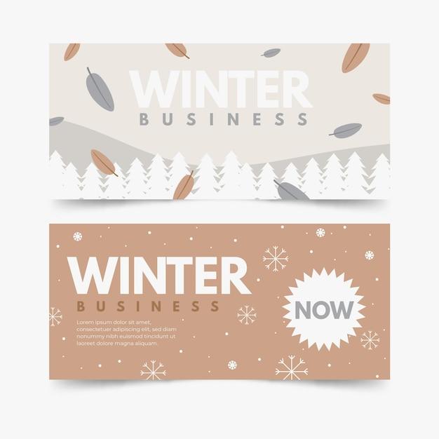Set di banner invernali disegnati a mano Vettore gratuito