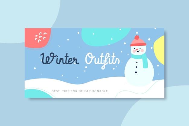 Modello di intestazione del blog invernale disegnato a mano Vettore gratuito