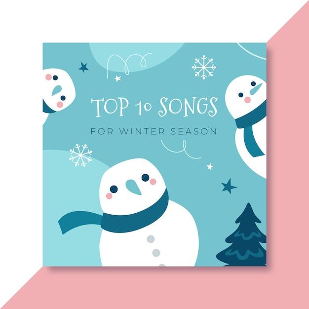 Modello di copertina cd invernale disegnato a mano Vettore gratuito