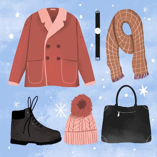 手描きの冬服と必需品 Premiumベクター