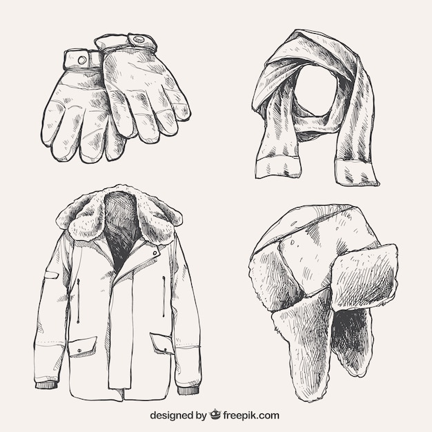 Hand drawn winter clothes collection