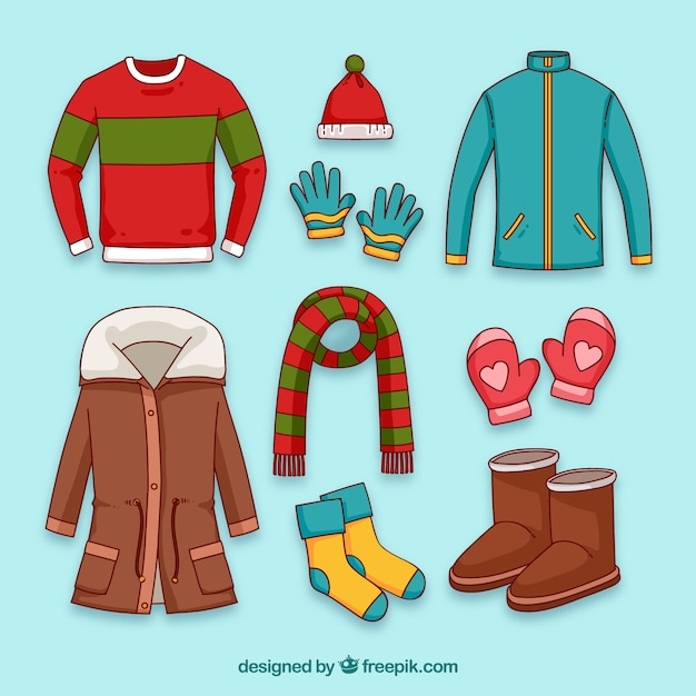 Hand drawn winter clothes & essentials Vector