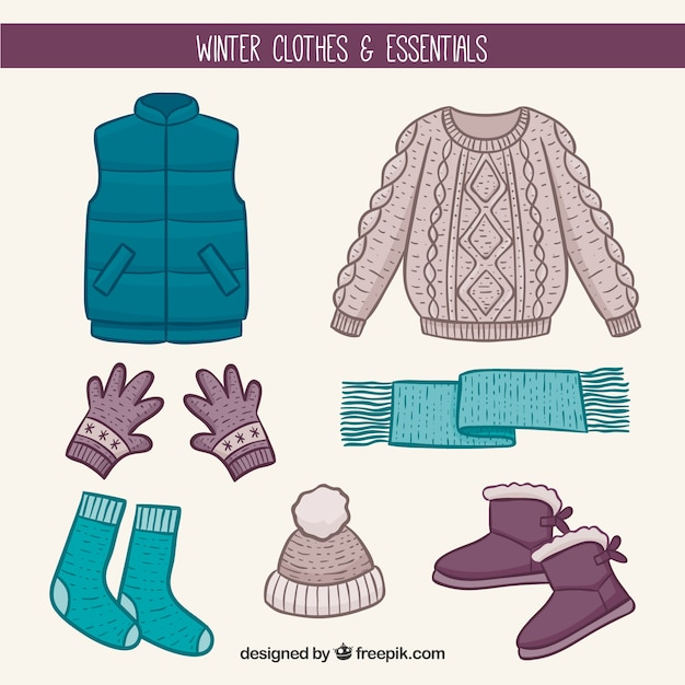 hand drawn winter clothes essentials vector free download. Black Bedroom Furniture Sets. Home Design Ideas