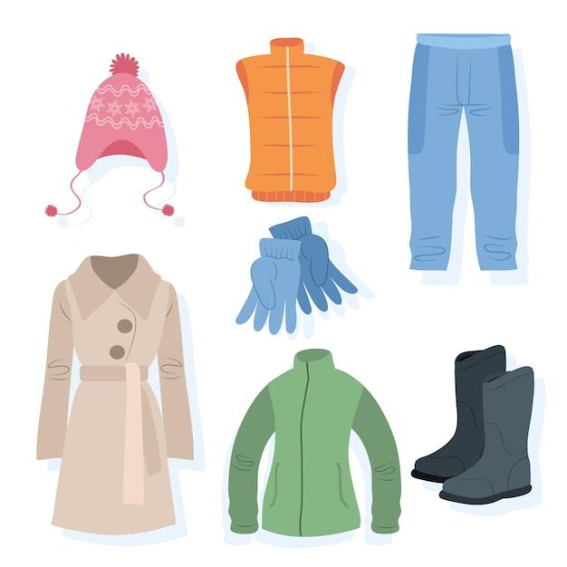 Vestiti invernali disegnati a mano isolati su bianco Vettore gratuito