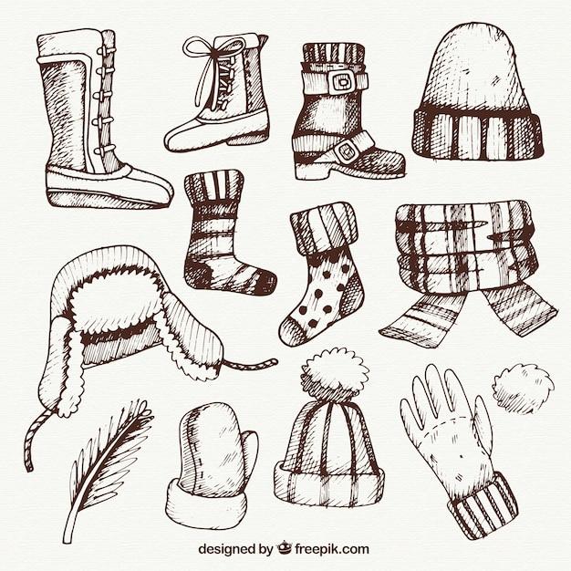 Disegnati a mano abiti invernali pacchetto Vettore gratuito