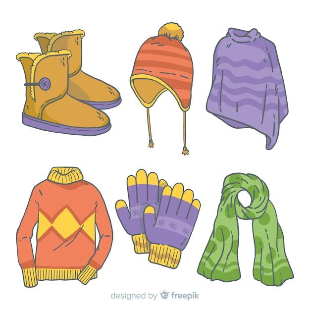 Vestiti invernali disegnati a mano Vettore gratuito