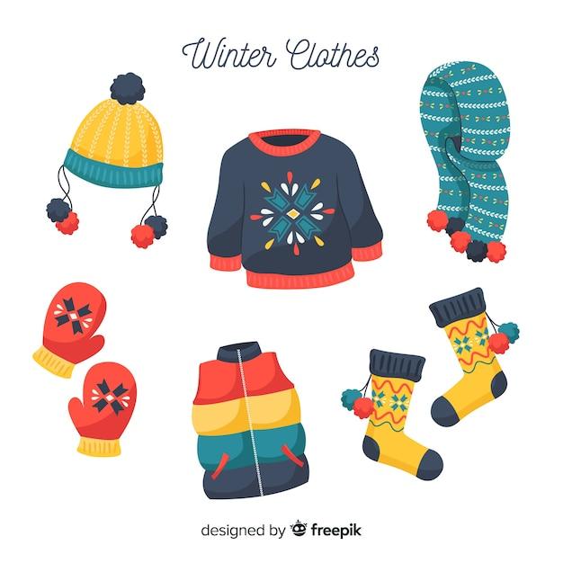 手描きの冬の服 無料ベクター