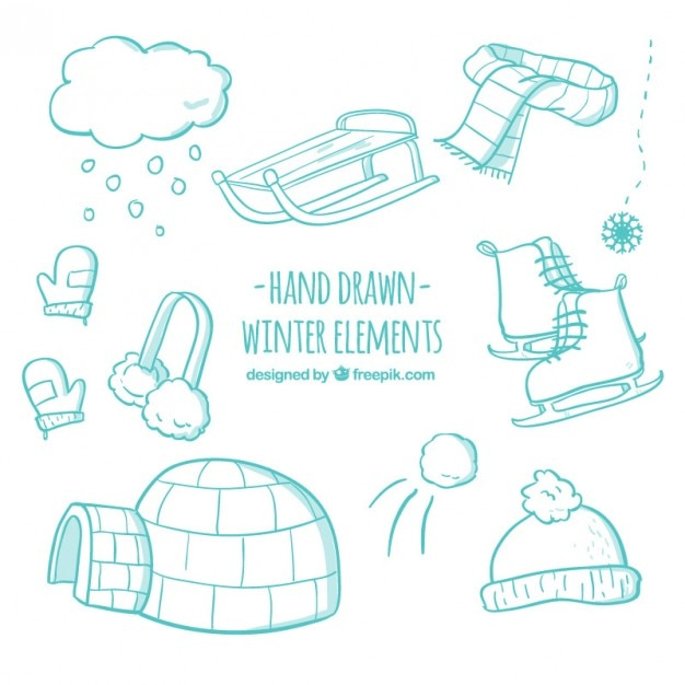 Hand drawn winter elements in turquoise color Free Vector