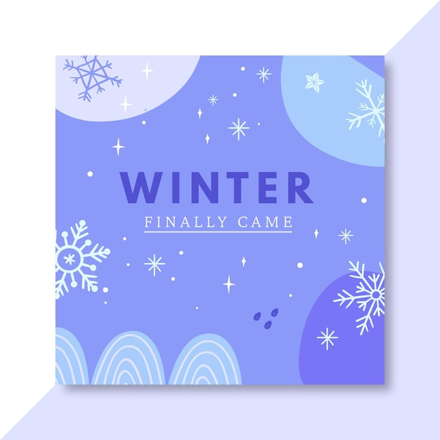 手描きの冬のfacebookの投稿テンプレート 無料ベクター