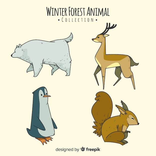 Hand drawn winter forest animal collection Free Vector