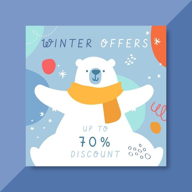 북극곰과 손으로 그린 겨울 instagram 게시물 템플릿 무료 벡터