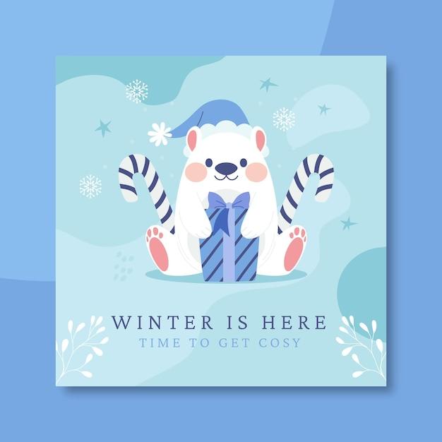 손으로 그린 겨울 instagram 게시물 템플릿 무료 벡터