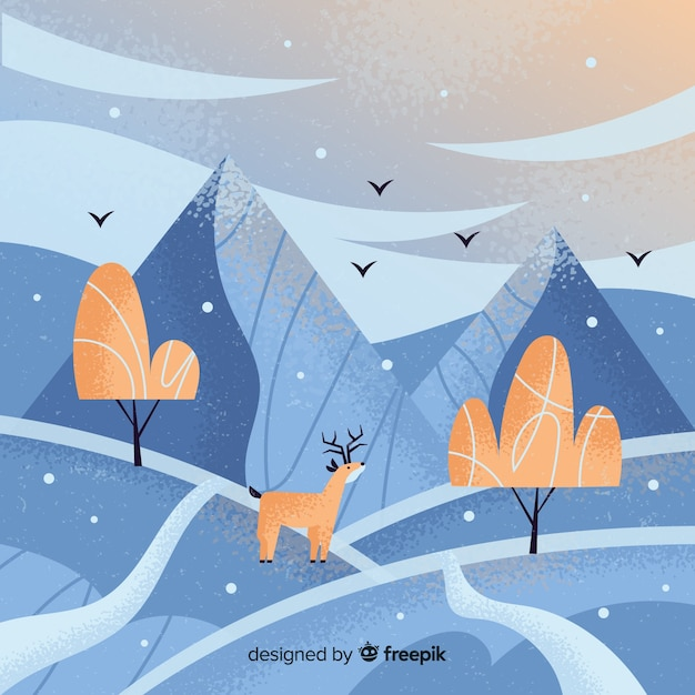 Hand drawn winter landscape background Free Vector