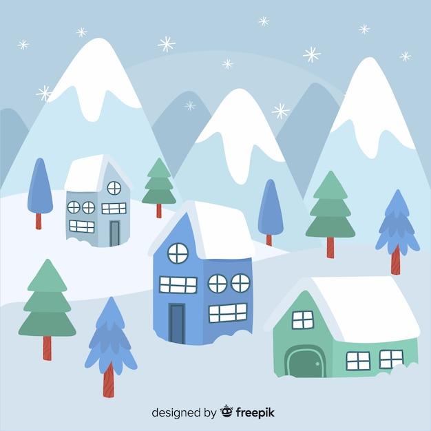 Hand drawn winter landscape background Free Vector