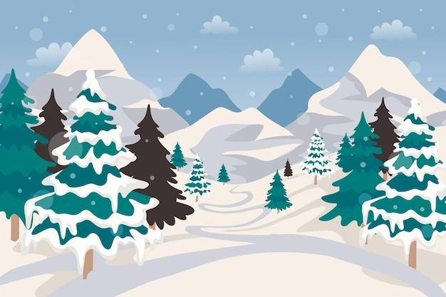 手描きの冬の風景の壁紙 Premiumベクター
