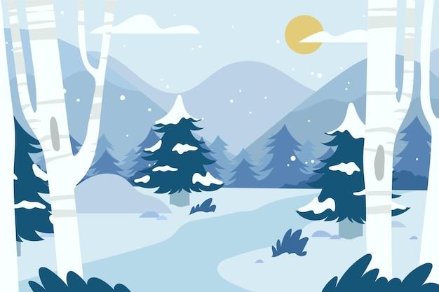 손으로 그린 된 겨울 풍경 무료 벡터