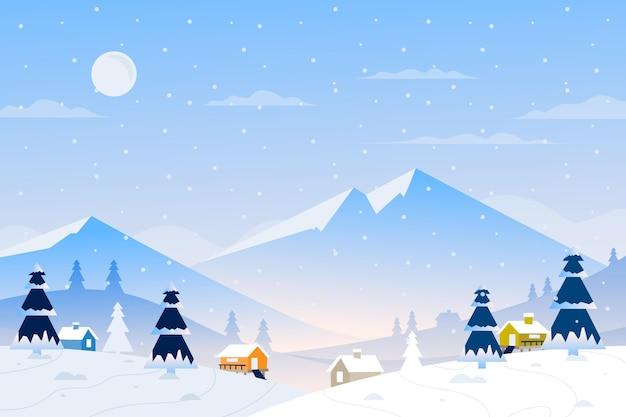 手描きの冬の風景 Premiumベクター