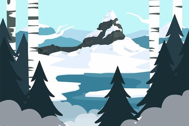 手描きの冬の風景 無料ベクター