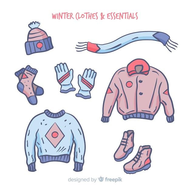 Vestito invernale disegnato a mano Vettore gratuito