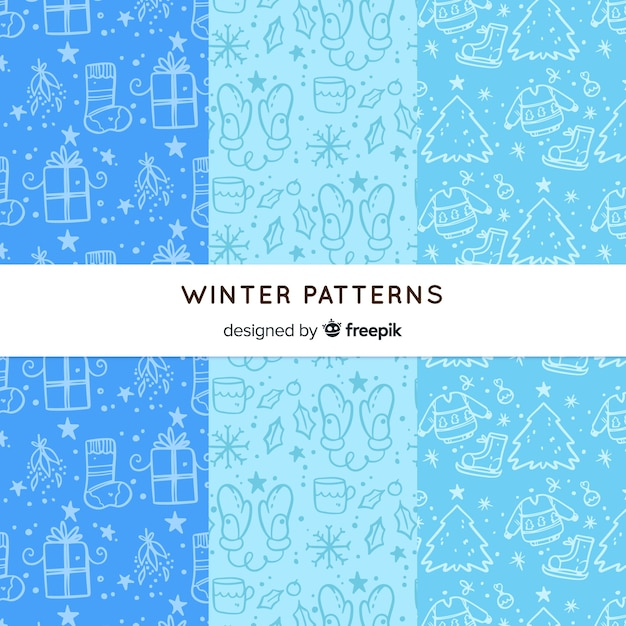 Hand drawn winter pattern collection Free Vector