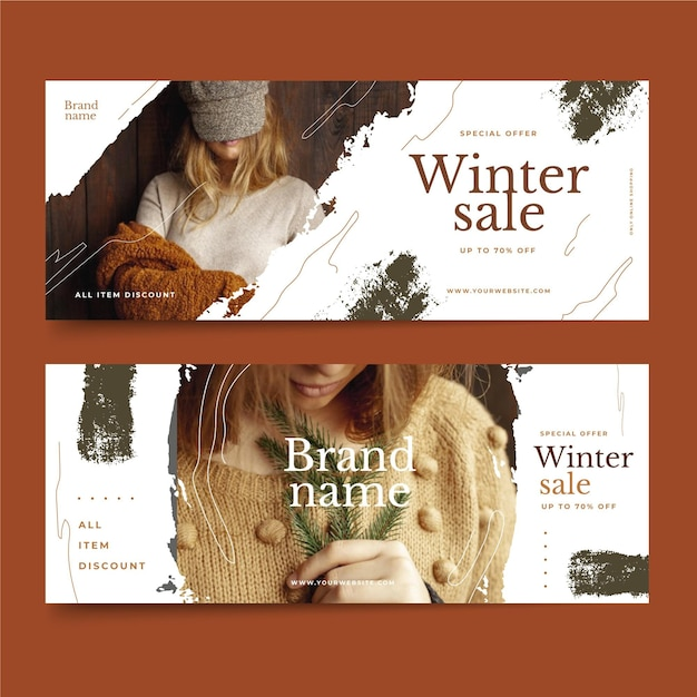 Hand drawn winter sale banners template Free Vector