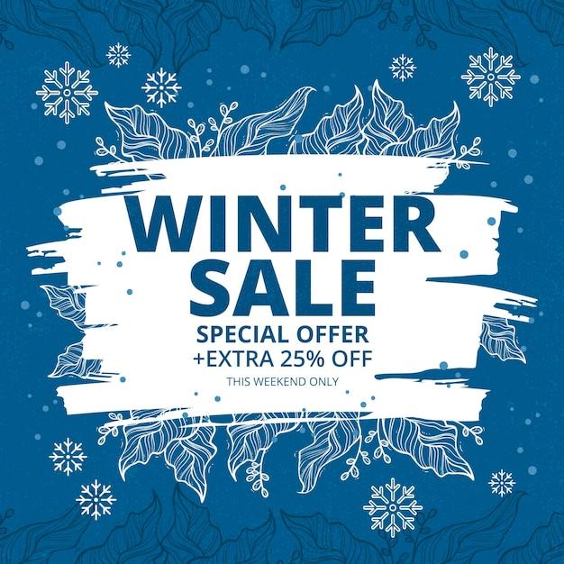 Hand drawn winter sale Free Vector