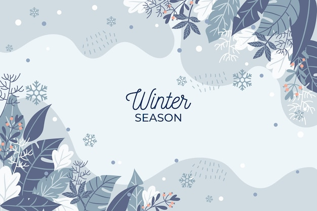 手描きの冬の季節の背景 Premiumベクター