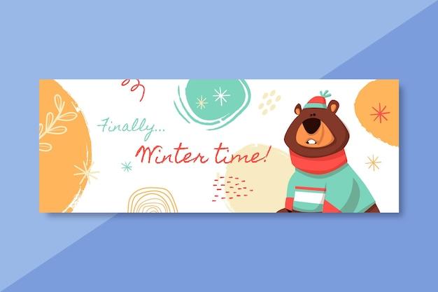 クマと手描きの冬のソーシャルメディア投稿テンプレート 無料ベクター