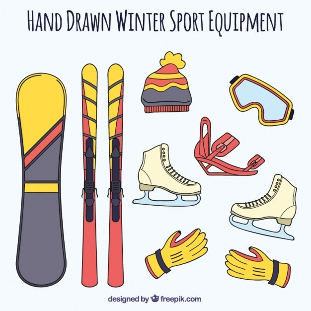 Hand drawn winter sport accessories