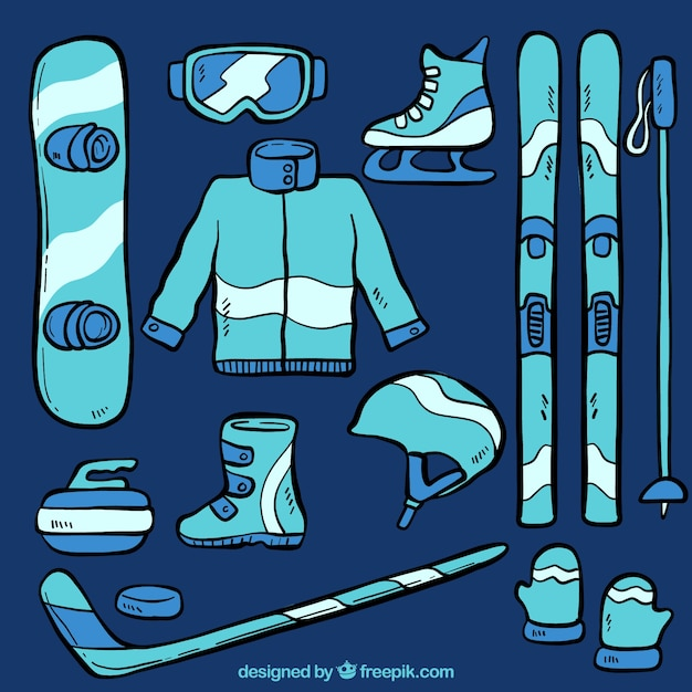Hand-drawn winter sport equipment set