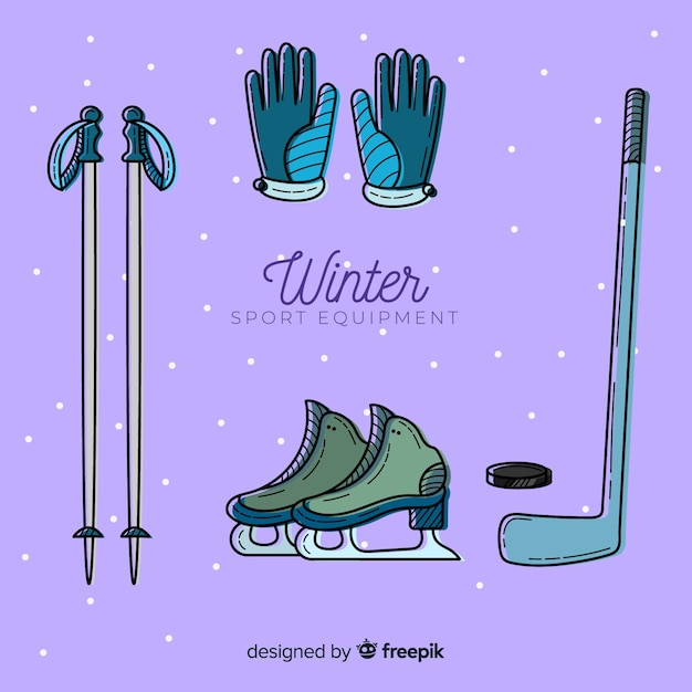 Hand drawn winter sport equipment Free Vector