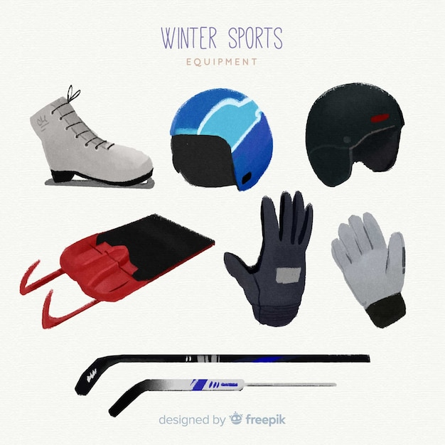Hand drawn winter sport equipment Free Vector