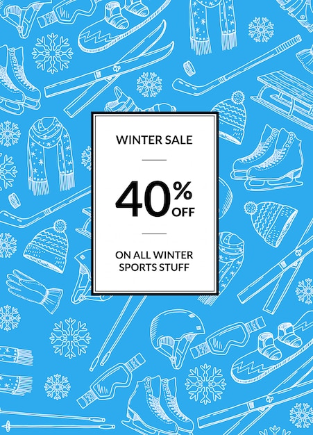 Hand drawn winter sports equipment and attributes sale banner Premium Vector